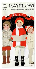 Children Caroling At Christmas Hand Towel