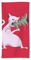 Funny White Cat Eats Christmas Tree Bath Towel