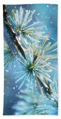Blue Atlas Cedar Winter Holiday Card Bath Towel