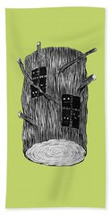 Tree Log With Mysterious Forest Creatures Hand Towel