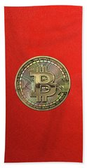 Gold Bitcoin Effigy Over Red Canvas Bath Towel