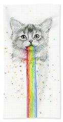 Kitten Puking Rainbows Hand Towel