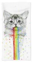 Kitten Puking Rainbows Bath Towel