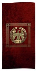Roman Empire - Gold Imperial Eagle Over Red Velvet Hand Towel