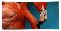 Profile Of An American Flamingo Bath Towel