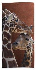 Endearing Giraffes Bath Towel