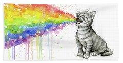 Kitten Tastes The Rainbow Bath Towel