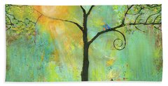 Hello Sunshine Tree Birds Sun Art Print Hand Towel
