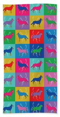 Pop Art German Shepherd Dogs Bath Towel