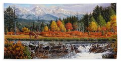 Western Mountain Landscape Autumn Mountain Man Trapper Beaver Dam Frontier Americana Oil Painting Hand Towel