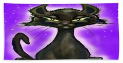 Black Cat Bath Towel by Kevin Middleton