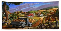 Autumn Appalachia Thanksgiving Pumpkins Rural Country Farm Landscape - Folk Art - Fall Rustic Hand Towel