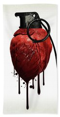 Heart Grenade Bath Towel