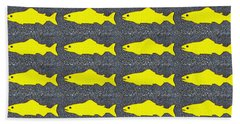 Yellow Fish Bath Towel by Ethna Gillespie