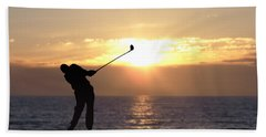 Hand Towel featuring the photograph Playing Golf At Sunset by Phil Perkins