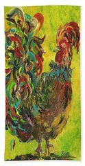 Hand Towel featuring the painting De Colores Rooster #2 by Eloise Schneider