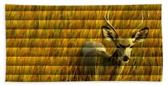 The Buck Poses Here Bath Towel by Bill Kesler