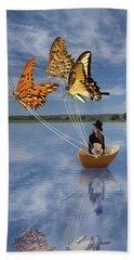 Butterfly Sailing Hand Towel by Linda Lees