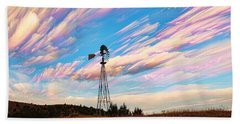 Bath Towel featuring the photograph Crazy Wild Windmill by Bill Kesler