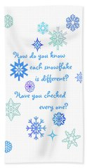 Snowflakes Bath Towel by Methune Hively