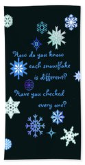 Snowflakes 2 Bath Towel by Methune Hively