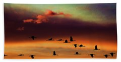Sandhill Cranes Take The Sunset Flight Bath Towel