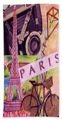 Hand Towel featuring the drawing Paris  by Eloise Schneider