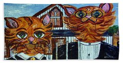 Hand Towel featuring the painting American Gothic Cats - A Parody by Eloise Schneider