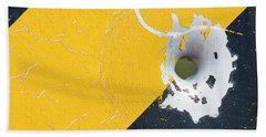 Bullet Hole On The Yellow Black Line Bath Towel by Bill Kesler
