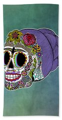 Catrina Sugar Skull Bath Towel by Tammy Wetzel