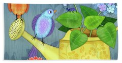 Two Birds On A Watering Can Bath Towel