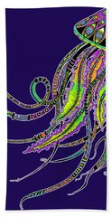 Electric Jellyfish On Black Bath Towel by Tammy Wetzel