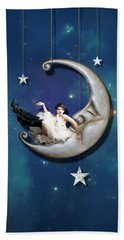 Moon Digital Art Hand Towels