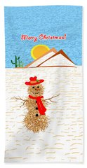 Tumbleweed Snowman Christmas Card Hand Towel by Methune Hively