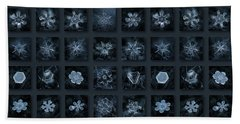 Bath Towel featuring the photograph Snowflake Collage - Season 2013 Dark Crystals by Alexey Kljatov