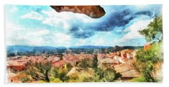 Arzachena Landscape With Rock Snd Clouds Hand Towel
