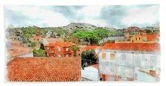 Arzachena Urban Landscape With Mountain Hand Towel