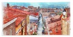 Arzachena View Of The Corso Garibaldi Hand Towel