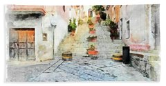 Arzachena View Staircase And Church Hand Towel