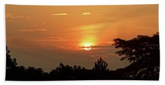 As The Sun Sets ... Orange Hand Towel by Exploramum Exploramum