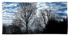 Ash Trees Against A Mackerel Sky Hand Towel