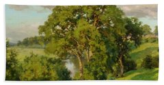 Ash Trees At Cropthorne Worcestershire Hand Towel