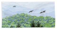 Asheville Blues Hand Towel by Anne Marie Brown