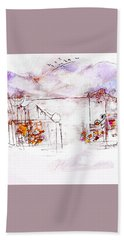 Asheville Mountains Old Friends And A Garden Bench   Bath Towel
