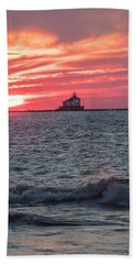 Ashtabula Ohio Lighthouse At Sunset  Hand Towel