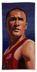 Ashton Eaton Painting Hand Towel by Paul Meijering