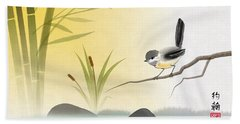 Asian Art Chickadee Landscape Bath Towel