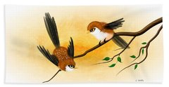 Asian Art Two Little Sparrows Hand Towel