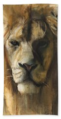 Asiatic Lion Hand Towel by Mark Adlington