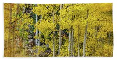 Bath Towel featuring the photograph Aspen Autumn Burst by Bill Gallagher